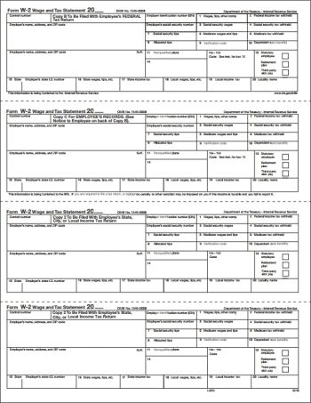 W2 4up Forms for Employee Copies B, C, 2, 2 for federal, state and local filing - DiscountTaxForms.com