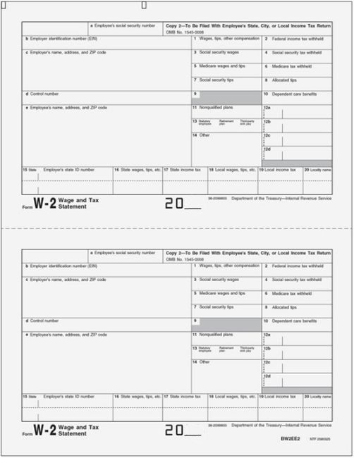 W2 Copy 2 Forms for Employee State, City and Local Filing LW22 - DiscountTaxForms.com