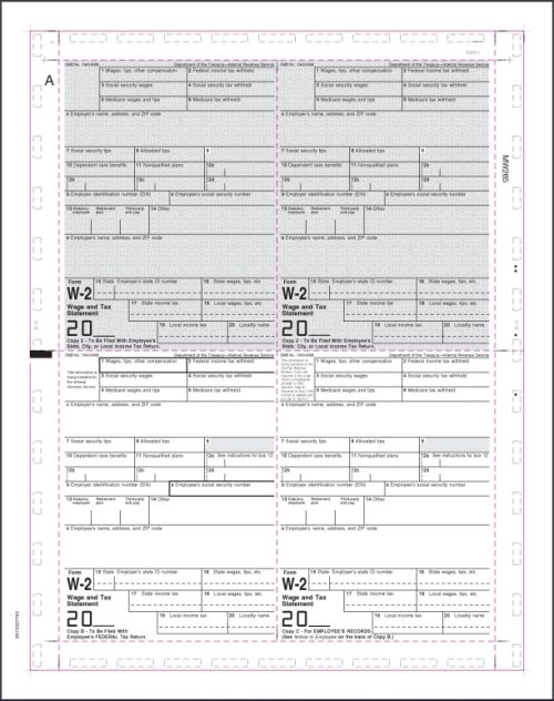 Pressure Seal W2 4up Preprinted Letter Size V-Fold - Discount Tax Forms