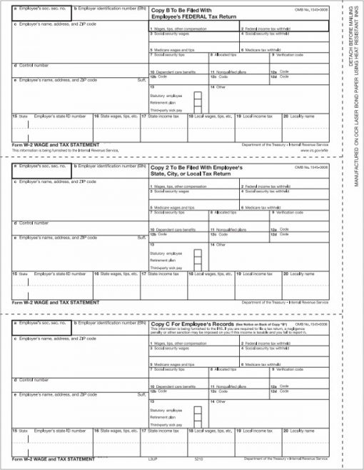 W2 3up forms for employee copies B/C/2 - Discount Tax Forms