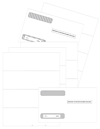 Blank Perforated W2 Form Paper Set with Envelopes, Horizontal Format V2 - DiscountTaxForms.com