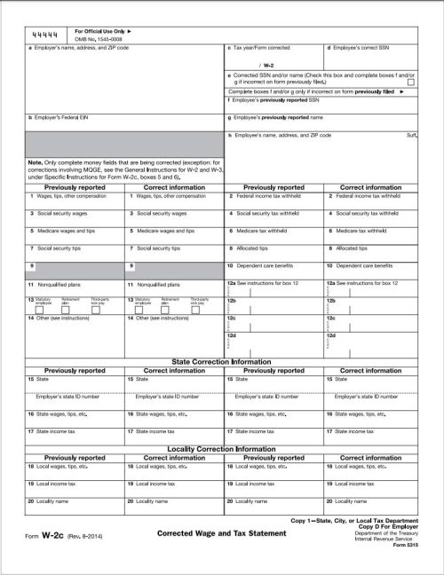 W2-C Correction Tax form for W2 forms with errors after filing - DiscountTaxForms.com