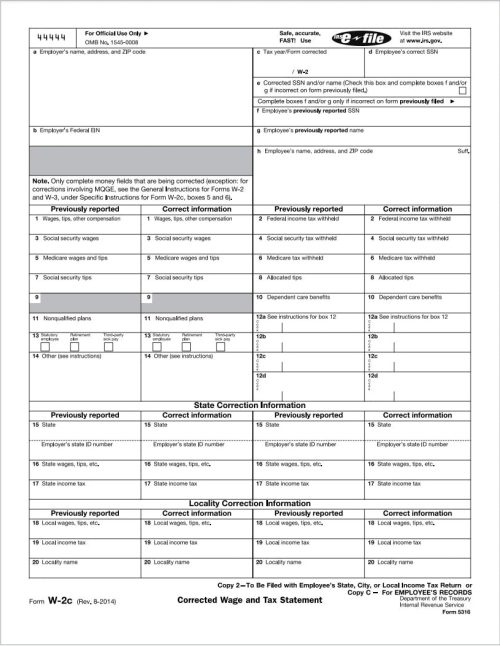 W2-C Forms for Corrections to W2 Forms Already Filed - DiscountTaxFormss.com
