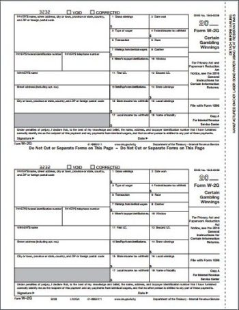 W2G Forms Copy A for payer filing with federal - Discount Tax Forms