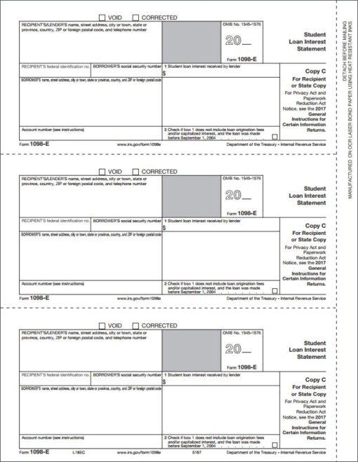 1098E Forms, Copy C for recipient - DisountTaxForms.com