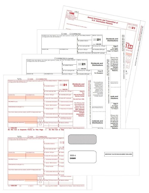 1099-DIV Tax Forms Envelopes Set for Dividends and Distribution Income - DiscountTaxForms.com