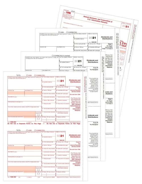 1099-DIV Tax Forms Set for Dividends and Distribution Income Reporting to the IRS - DiscountTaxForms.com