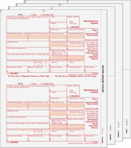 1099MISC Forms Set with all the forms you need for easy filing with the IRS - Discount Tax Forms
