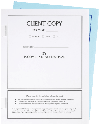 Client Copy Tax Covers with Side-Staple Tabs for Tax Returns - DiscountTaxForms.com
