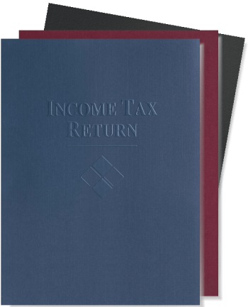 """Tax Return Folders with Embossed """"Income Tax Return"""", High-Quality Paper in Blue, Green and Burgundy - DiscountTaxForms.com"""