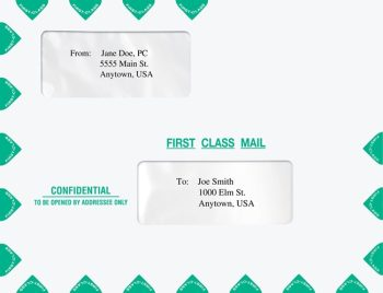 First Class Envelopes 10x13 with Alternate, Offset Double Windows PEB02 - Discount Tax Forms