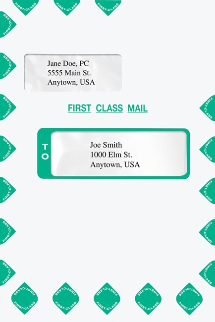 Expanding First Class Mail Envelope with Alternate Windows Tyvek. Compatible with Creative Solutions, UltraTax, ATX, CCH and Prosystem software.