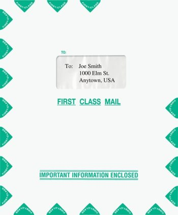First Class Mail Envelope with 1 Window 9.5 x 11.5 Green. Compatible with Lacerte software. PEH34 - Discount Tax Forms