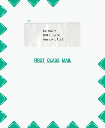 Single Window First Class Mail Envelope, Green PEI35 - Discount Tax Forms