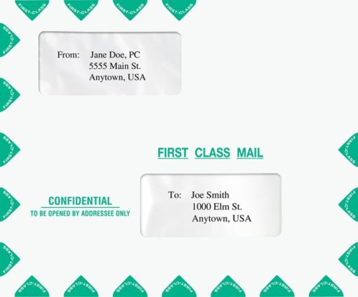 Large Window Envelope in Landscape (Horizontal) Format with First Class Mail Graphics PEM13 - Discount Tax Forms