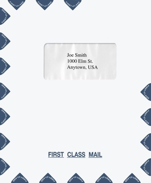 First Class Mail Envelope 9.5 x 11.5 with 1 Window in the Center, Blue PEQ17 - Discount Tax Forms