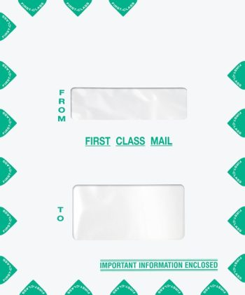 First Class Mail Envelope 9.5 x 11.5 Portrait Style with 2 Windows PEZ52 - Discount Tax Forms