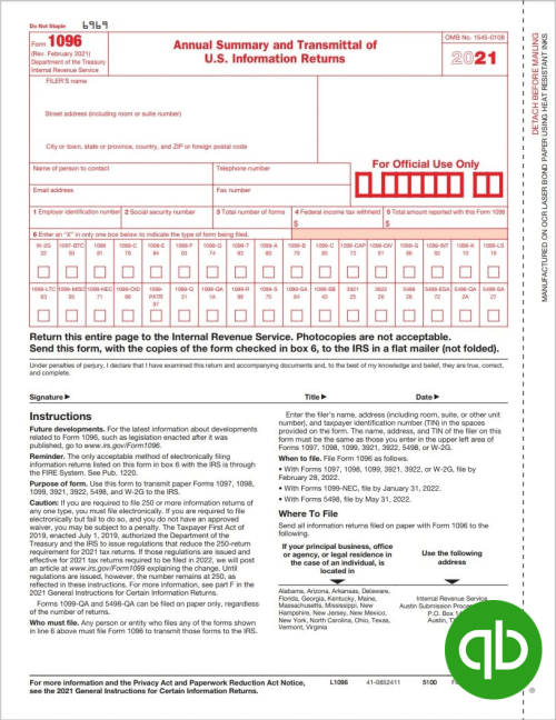 Intuit QuickBooks 1096 Form Summary and Transmittal - Guaranteed Compatible - DiscountTaxForms.com