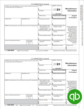 QuickBooks Compatible 1099-MISC tax forms, Copy B for recipients - 100% Compatible with Intuit QuickBooks at Discount Prices - DiscountTaxForms.com