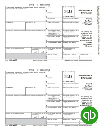 QuickBooks Compatible 1099MISC Tax Form Copy C-2 for Payer - 100% Compatible with Intuit QuickBooks at Discount Prices - DiscountTaxForms.com