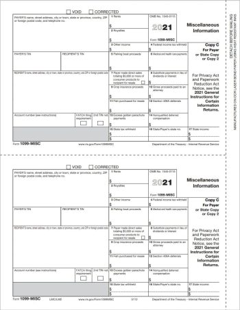 QuickBooks 1099MISC Tax Form Copy C-2 for Payer - 100% Compatible with Intuit QuickBooks at Discount Prices - DiscountTaxForms.com
