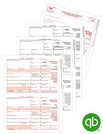 QuickBooks 1099-MISC tax forms set with recipient and payer copies - 100% compatible with Intuit Software at Discount Prices - DiscountTaxForms.com