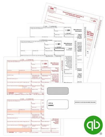 QuickBooks 1099-MISC tax forms and envelopes set for 2021 - 100% compatible with Intuit QuickBooks at Discount Prices - DiscountTaxForms.com