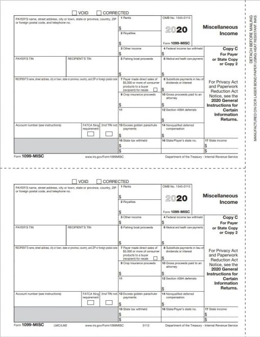 QuickBooks Compatible 1099MISC Forms, Copy C/2 for State or File, Replaced by 1099NEC for reporting nonemployee compensation - DiscountTaxForms.com