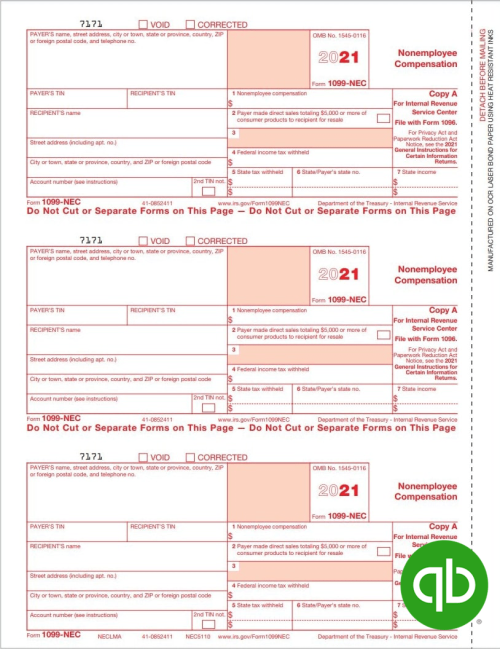 QuickBooks Compatible 1099-NEC tax forms, Copy A for IRS, Discounted Prices - DiscountTaxForms.com