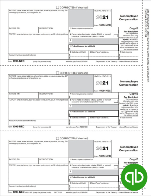 QuickBooks Compatible 1099-NEC tax forms, Copy B for recipient, guaranteed compatible with Intuit, discount prices - DiscountTaxForms.com