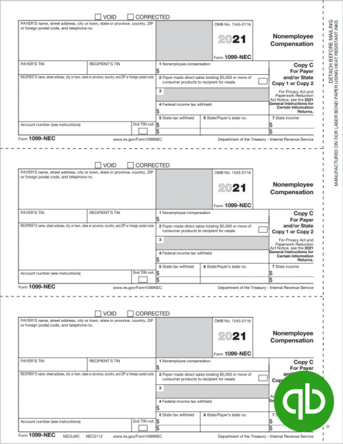 Intuit QuickBooks 1099-NEC tax form for non-employee compensation, Copy C-2 for Payer - 100% compatible with QuickBooks, Discount Prices - DiscountTaxForms.com