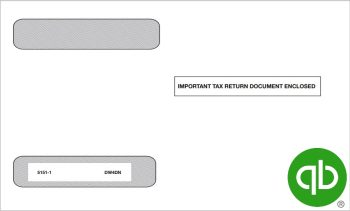QuickBooks W2 Envelope for 4up V1 W2 Forms in a Horizontal Format, 100% Compatible with Intuit QuickBooks at Discount Prices - DiscountTaxForms.com