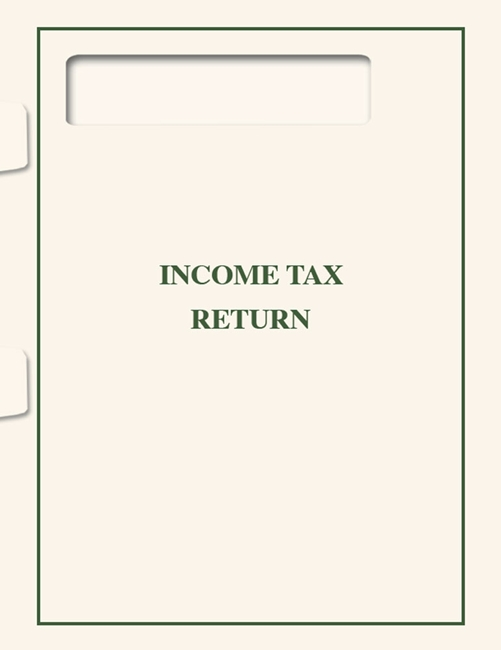 Tax Return Folder with 1040 Window, Cream Paper with Green Printing makes a professional presentation of tax returns by a CPA or accountant SFOFW - Discount Tax Forms