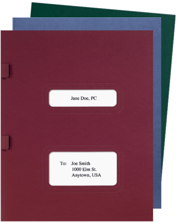 Double Window Tax Return Folders with Side Staple Compatible with Drake, TaxWorks and TaxWise software - DiscountTaxForms.com