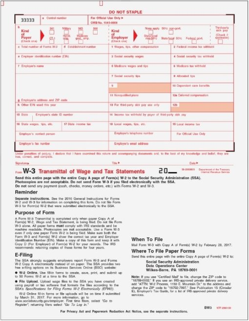 W3 Transmittal Forms for W2 Form Filing with the IRS, LW3 - DiscountTaxForms.com