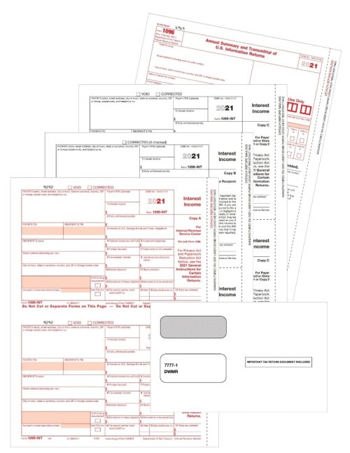 1099-INT Forms & Envelopes Set for Reporting Interest Income, Copy A, B, C & 1099 Envelopes Included - DiscountTaxForms.com