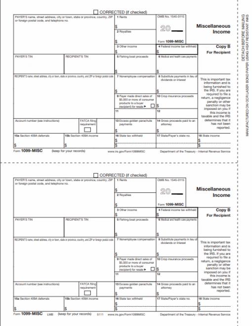 1099MISC Form Copy B for Recipient or Contractor - DiscountTaxForms.com