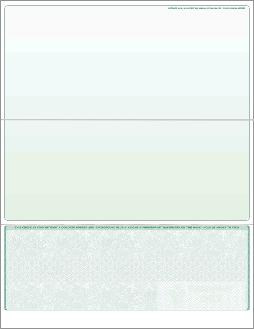 Blank check stock, bottom checks in green. High security check stock at affordable prices - Discount Tax Forms