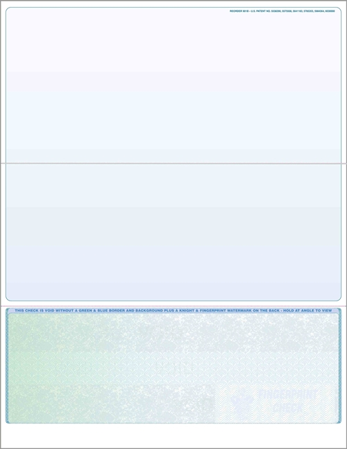 Blank check stock, bottom checks in prismatic green to blue. High security check stock at affordable prices - Discount Tax Forms