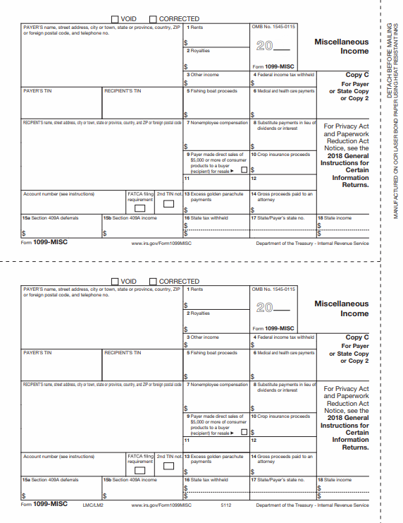 10-MISC Form - Copy C/10 Payer/State