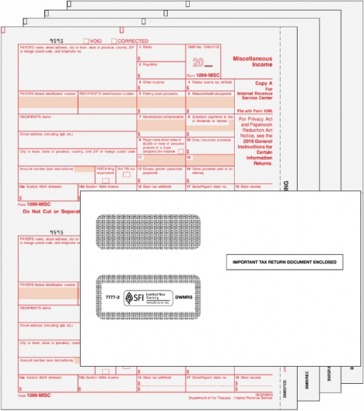 QuickBooks 1099MISC Forms and Compatible Envelopes Set - DiscountTaxForms.com