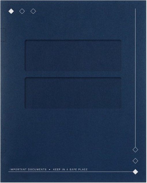 40BL Diamond Design Tax Folder with Side Staples Blue - DiscountTaxForms.com