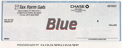 Business Checks Blue Color - DiscountTaxForms.com