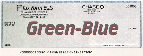 Business Checks Green-Blue Prismatic Color - DiscountTaxForms.com