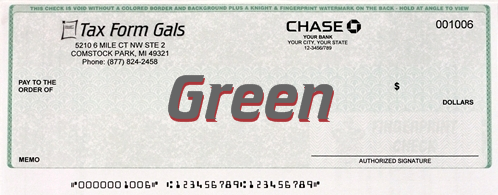 Business Checks Green Color - DiscountTaxForms.com