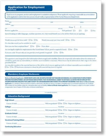 Job Application Form, Short Version by ComplyRight - Discount Tax Forms