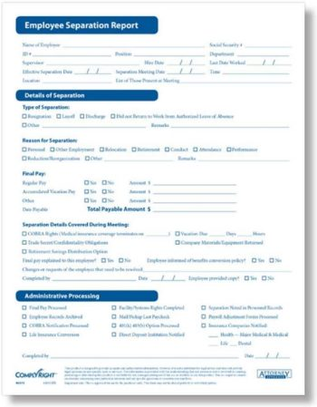 Employee separation report forms by ComplyRight - Discount Tax Forms
