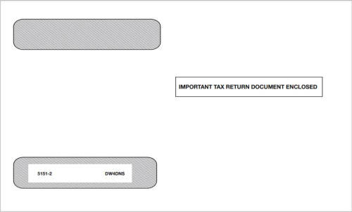 """W2 Envelope 4up V2 Horizontal Format W2 Forms, Self-Seal Adhesive Flap, """"Important Tax Return Document Enclosed"""" - DiscountTaxForms.com"""