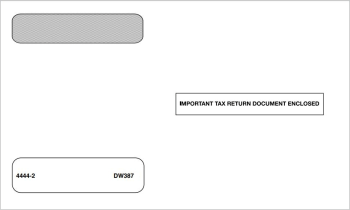 """W2 Envelope 4up V2A Alternate Horizontal Format, Moisture Seal, """"Important Tax Return Document Enclosed"""" - DiscountTaxForms.com"""