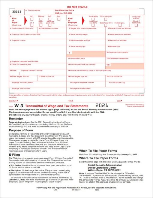 W3 Transmittal Forms for 2021 for W-2 Filing with IRS - DiscountTaxForms.com